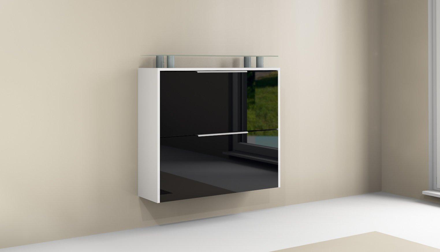 rena 2 schuhschrank schuhkipper flur diele schrank wei hochglanz matt glas ebay. Black Bedroom Furniture Sets. Home Design Ideas