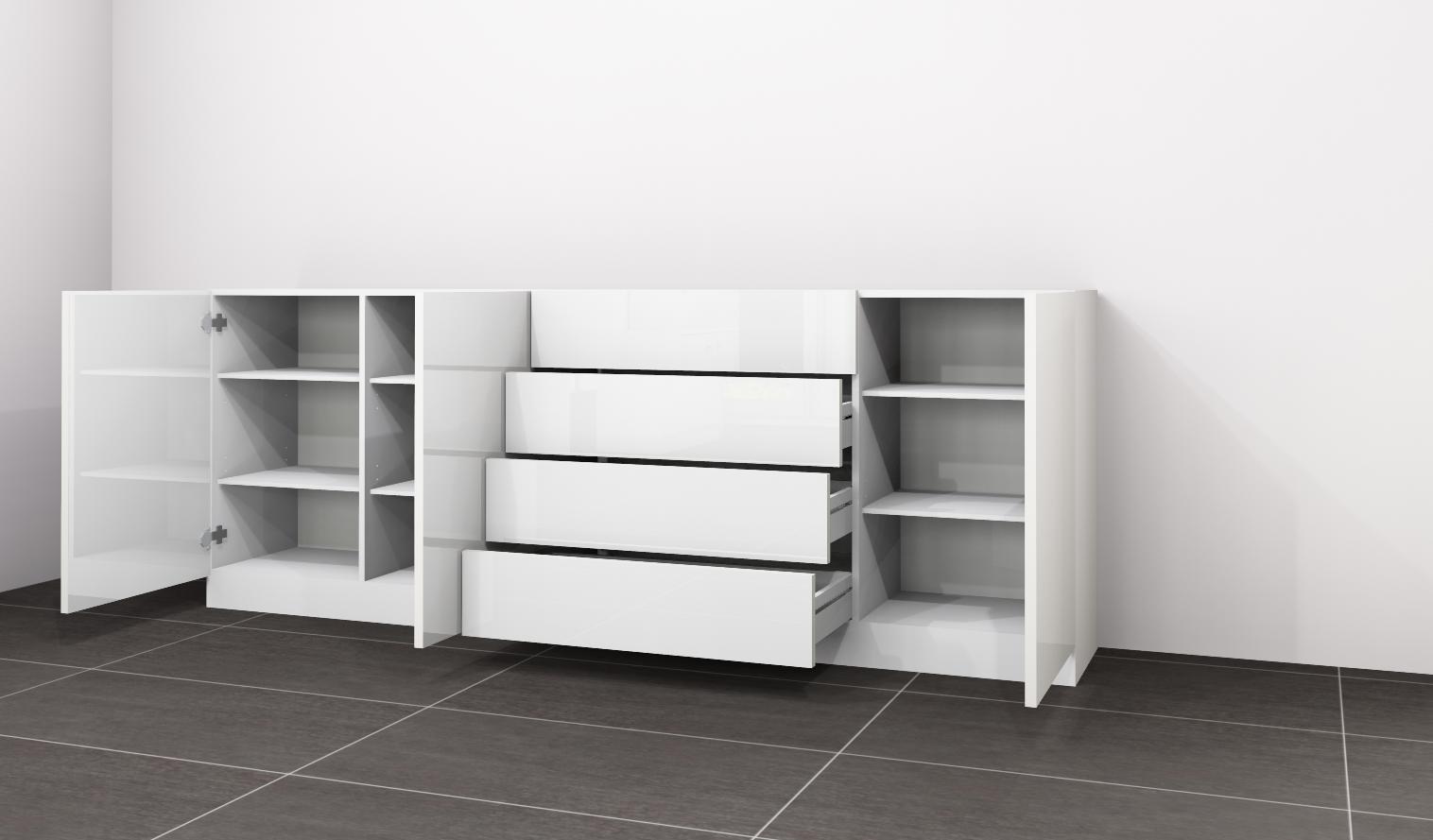 kommode vaasa 4 anrichte sideboard schrank m bel flur wohnzimmer hochglanz ebay. Black Bedroom Furniture Sets. Home Design Ideas