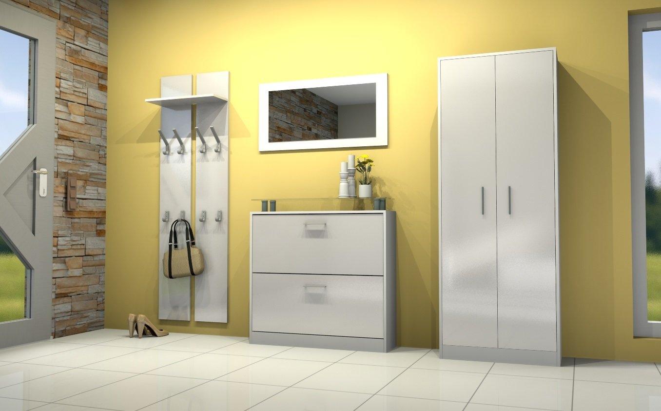 garderobenset garderobe finn paneel schuhschrank spiegel flur hochglanz wei ebay. Black Bedroom Furniture Sets. Home Design Ideas